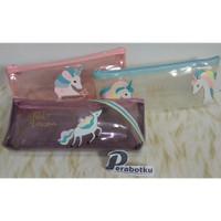 Tempat Pensil Unicorn Kuda Transparan 31676/Wadah Kotak Kosmetik