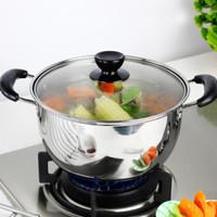 Panci/Panci Sup Soup Pot Stainless Stell tutup kaca Panci Serbaguna