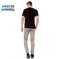 Hipster celana panjang chino warna light grey/silver/perak