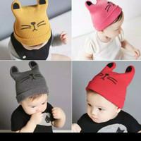 Topi Kupluk Bayi motif CAT Baby Hat bahan Rajut
