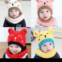 Topi Kupluk Bayi Rajut - Kupluk Anak Fleece SMiLey Cat Hangat Lembut B
