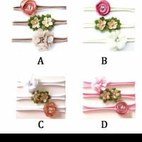 Set Bandana Bayi Elastis 3 Pcs Motif Bunga Flower Headband Baby Fashio