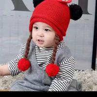 Topi Fashion Bayi Model Minnie Telinga Pompom dg Wig Kepang - Kupluk R