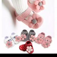 Sepatu Prewalker Fashion Bayi Sol Anti Slip Aksesoris BUNGA untuk Anak