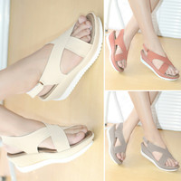 Sepatu Sandal Wedges Tali Silang Kulit Mulan BPS03