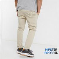 Hipster celana panjang chino besar big size warna cream ivory