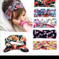 Bandana Motif Bunga Headband Floral Ikat Pita Katun