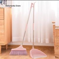 1 Set Sapu Dan Pengki - Dustpan Broom Set - Alat Kebersihan - Pink