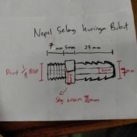 Nepel Selang 1/4 (7mm) x M1/8 - Kuningan BUBUT / Hose Nipple