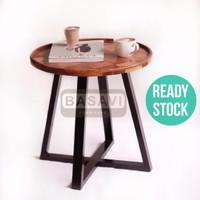 Meja Samping Side Table Tamu Kopi Kayu Solid Minimalis Rustic