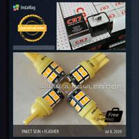 Paket Lampu 4 Led Sein + Flasher T10 Emperor 2835 Kuning Amber Motor