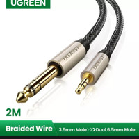 Ugreen Audio 3.5mm to 6.5mm 6.35mm cowok male stereo jack kabel 2m aux