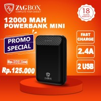 Powerbank ZAGBOX Mini Slim 12000mAh Fast Charge 2 USB Port