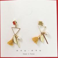 Gold Pompom Korean Gold Earrings