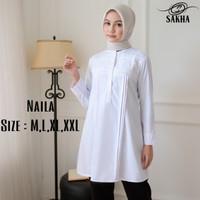 Kemeja blouse wanita atasan putih PNS guru - Naila
