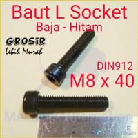 Baut L M8 x 40 Baja Hitam