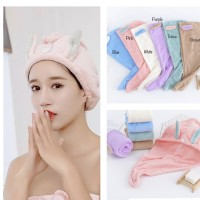 PANACHE Cute Rabbit Ear Hair Towel Shower Cap Handuk Keramas