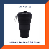 Gelas Silicone Foldable - Travel Coffee Cup - Gelas Lipat Karet Hitam