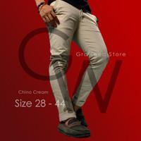 Celana Chino Pria Premium Groweed Cream, Khaki, Hitam, Abu Tua
