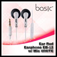 Basic Ear Bud Earphone EB-12 w/ Mic WHITE (Earphone)