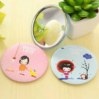 Cermin Bulat Karakter/Kaca Cermin Make Up Mini/Travelling Motif Kartun