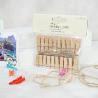 Jepitan foto penjepit bahan kayu warna natural (bonus tali rami)
