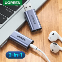 Ugreen 2 in 1 USB to 3.5mm Sound card audio adapter Gray 80864