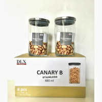 Toples kaca Canary B tutup stainless 880ml (6pcs)