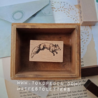 Wooden stamp Wolf Serigala Rubber Stempel Karet hias Scrapbooking