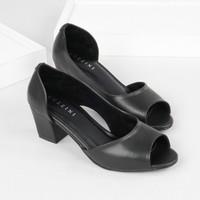 Guzzini MN 556 Hitam - Sepatu Heels Buka Depan Casual