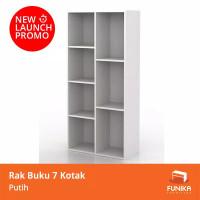 Rak buku Funika 7 kotak susun tingkat serbaguna minimalis 13227 - Sonoma Cream