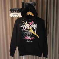 hoodie Stussy Hitam Original