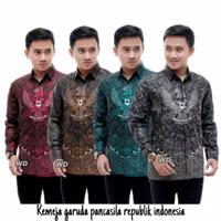 Baju Batik Pria Terbaru Garuda Pancasila | Kemeja Pria Lengan Panjang - Abu-abu, M
