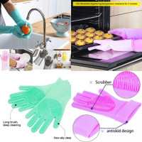 PANACHE Magic Silicone Rubber Scrub Dish Washing Glove Sarung Tangan