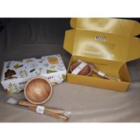 Satu Set Mangkuk Kayu Masker Habiti Organic