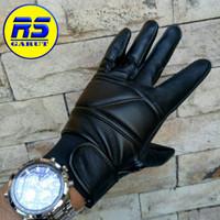 Sarung tangan kulit asli sarung tangan motor (RS-314) - Hitam, S