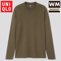 UNIQLO Men T-Shirt Kaos Pria Soft Touch Crew Neck Lengan Panjang Olive