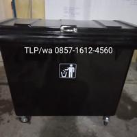 Tempat sampah fiber besar + roda , kapasitas 660 liter