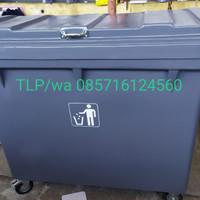Tempat sampah besar , fiber kapasitas 660 liter, warna abu