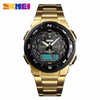 SKMEI Jam Tangan Sport Pria SK1370 Original Dual Time Anti Air Murah - Gold