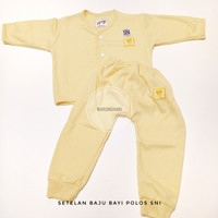 Baju Setelan Piyama Panjang Bayi Polos Newborn Baru Lahir 0-6 bulan