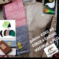 baju koko pria lengan panjang +sarung wadimor premium+peci