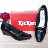 Sepatu KICKERS Pantofel Hitam High Heels Wanita/Sepatu Kantor Grade-A - Hitam Glossy, 39