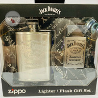 Zippo Original Jack Daniels LTR and Flask 49080