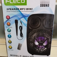 Speaker Bluetooth Portable Fleco F-8606 Led 8inc - Spiker Multimedia