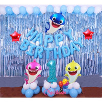 Set paket balon ultah baby shark ulang tahun anak birthday ikan - Merah Muda, angka 9