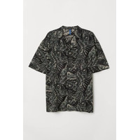 Kemeja H&M Patterned Resort Shirt Black Leaf Original HnM Pantai Beach