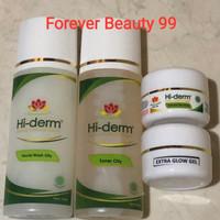 Hiderm paket oily skin extra glow gel isi 4 -krim glowing-flek berat