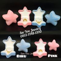 Kotak Anting / Kotak Cincin Kalung Bintang Laut Starfish Beludru