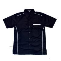 kemeja seragam promosi polos/drill/mekanik/komunitas/bengkel/kerja - Hitam Lis Putih, S